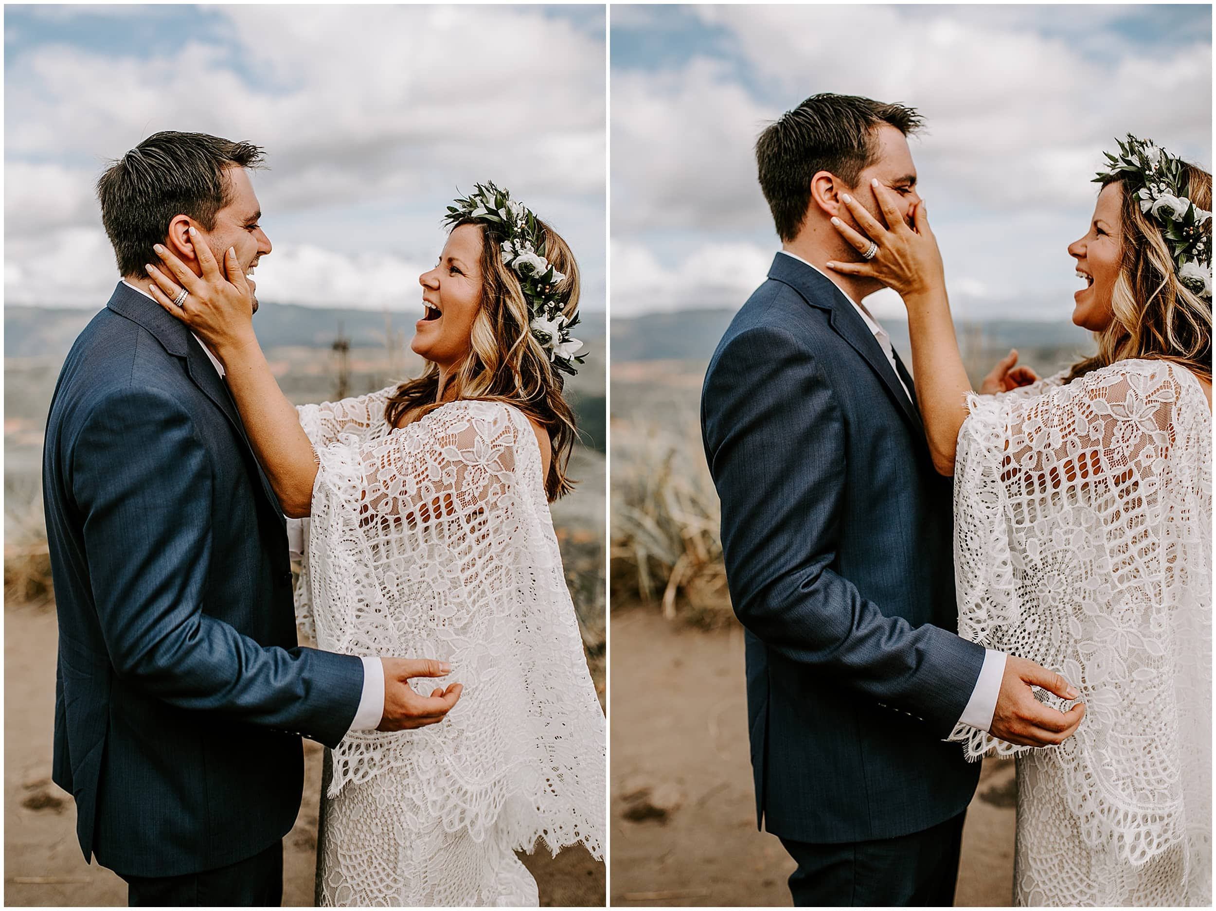 bride holding groom's face