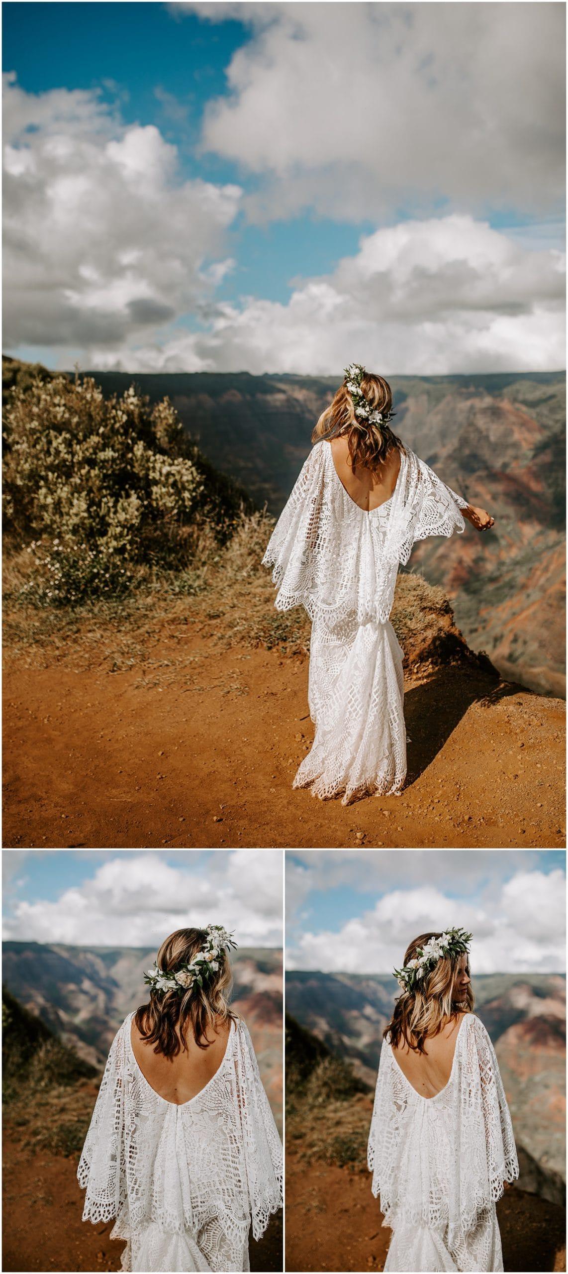 bride dancing in boho dress