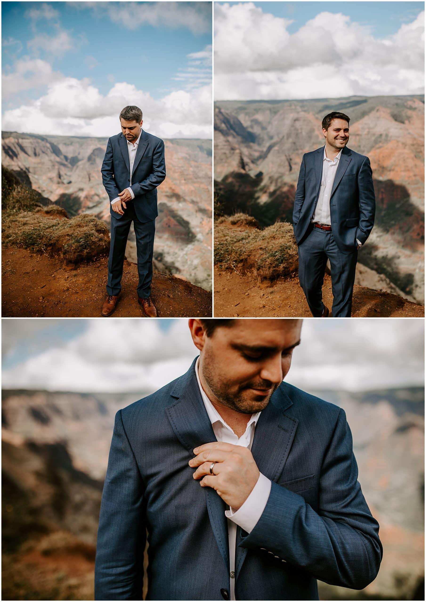 groom wearing navy suit