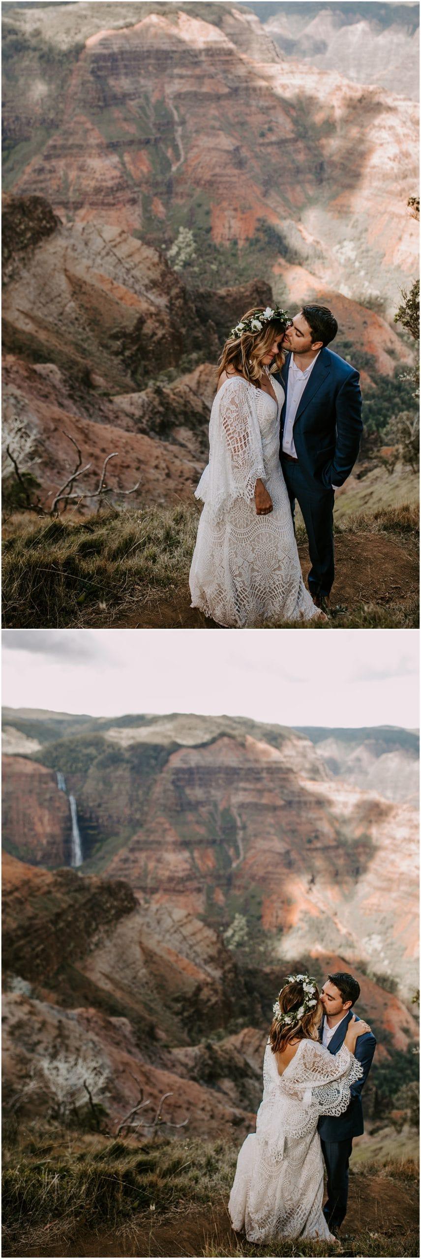bride and groom eloping at waimea canyon