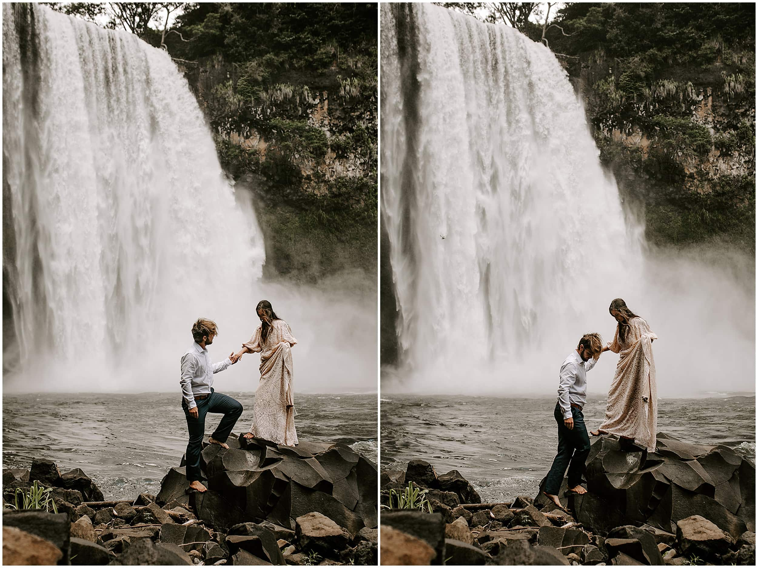 bride and groom hiking at waterfall