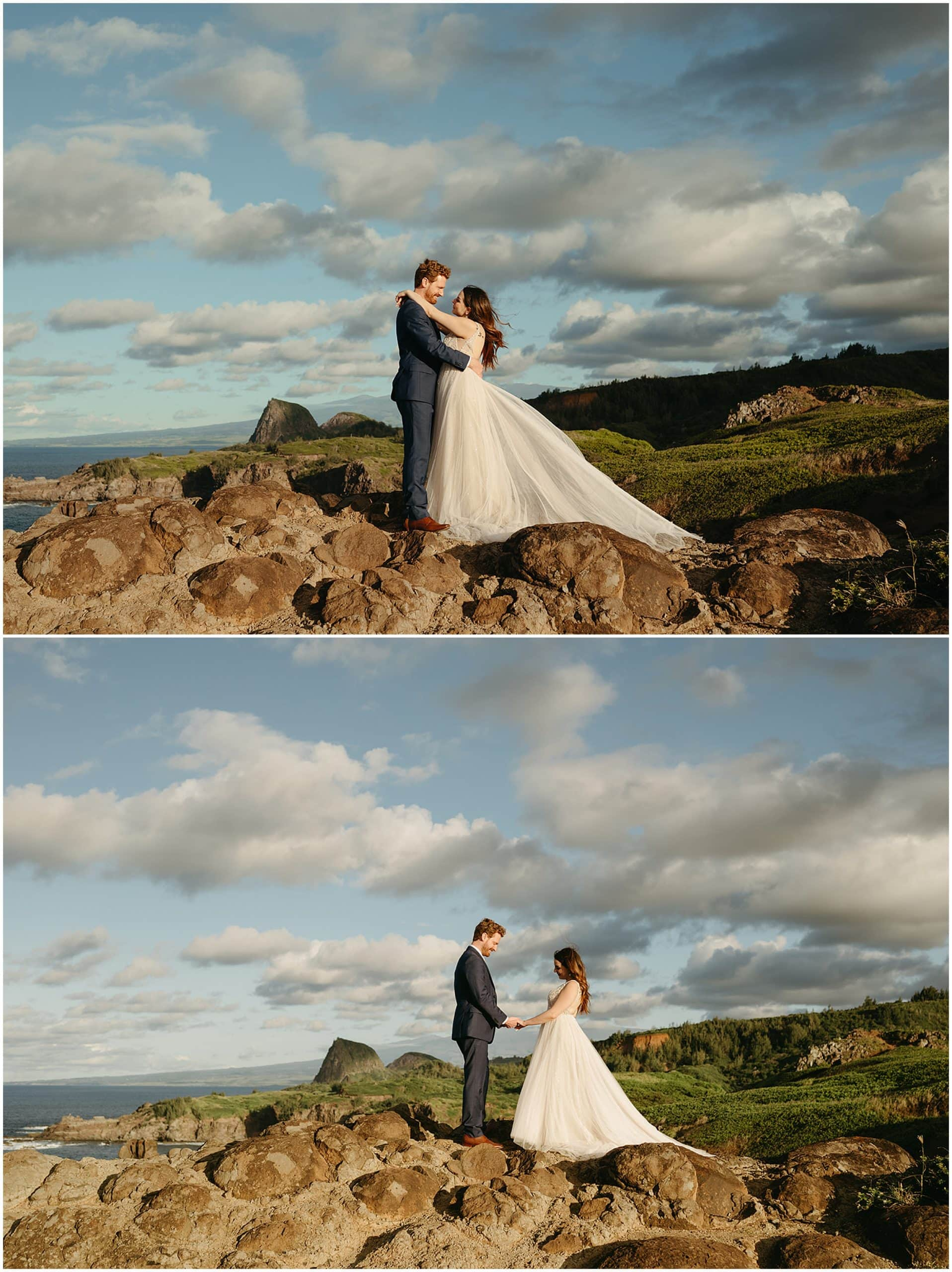 couple standing on top of hill