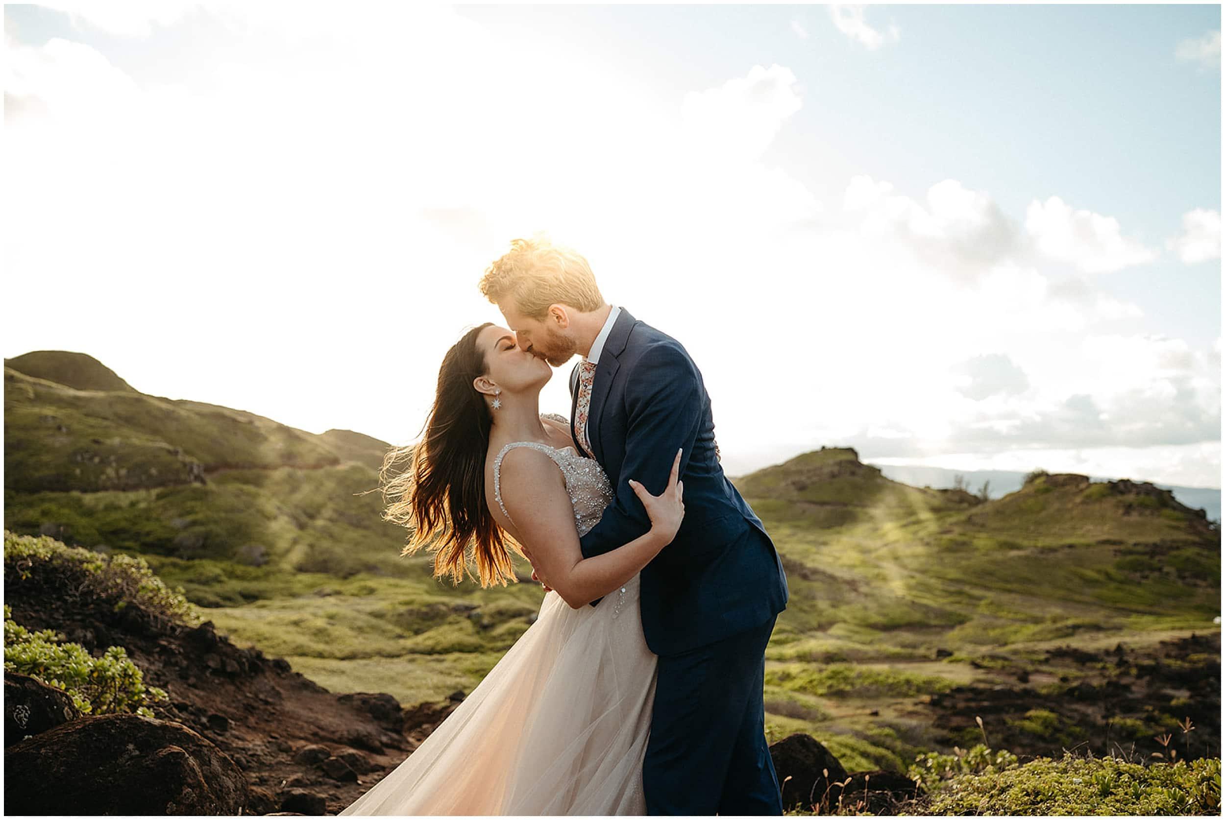 husband dip kissing bride