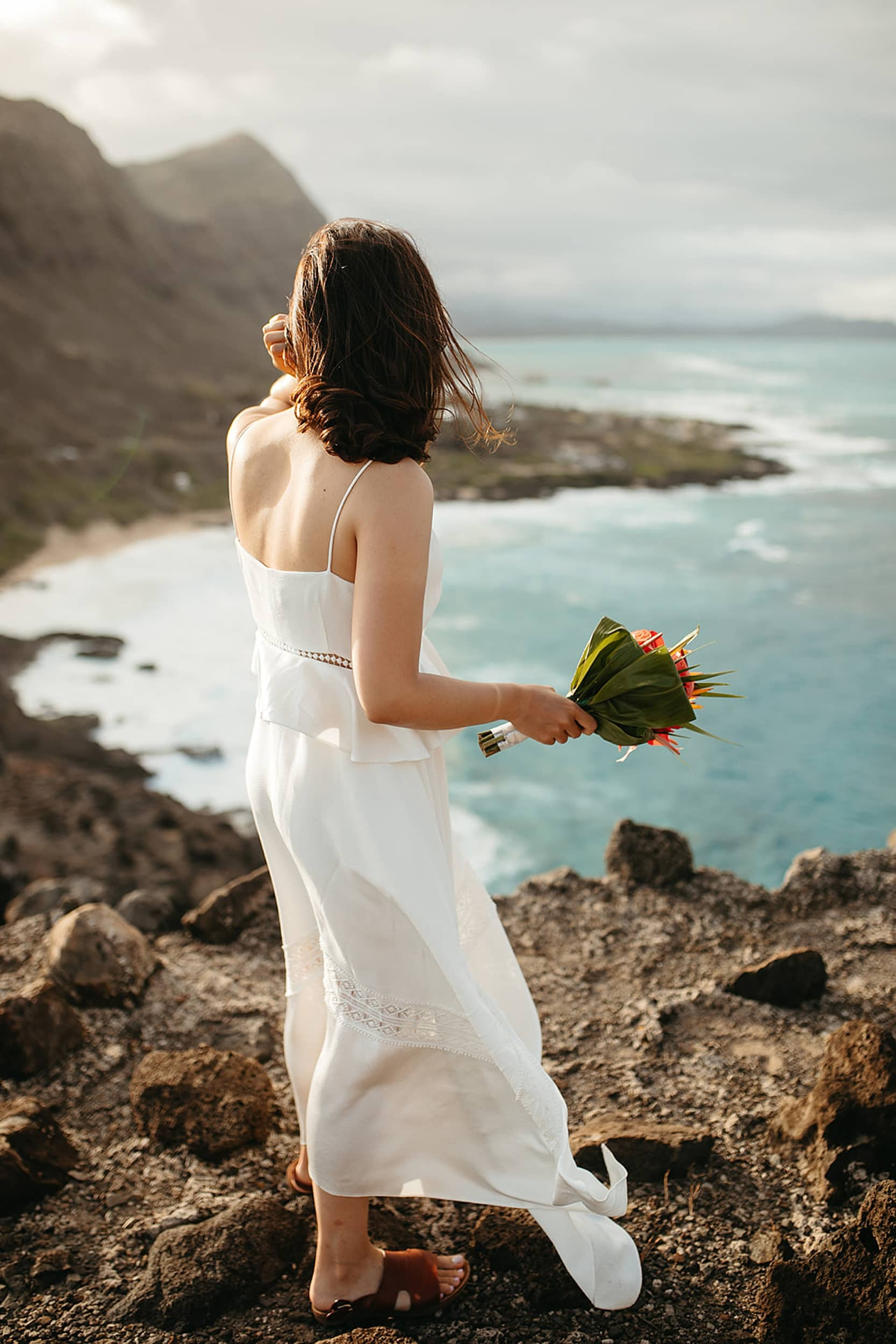 bride at an elopement in Hawaii