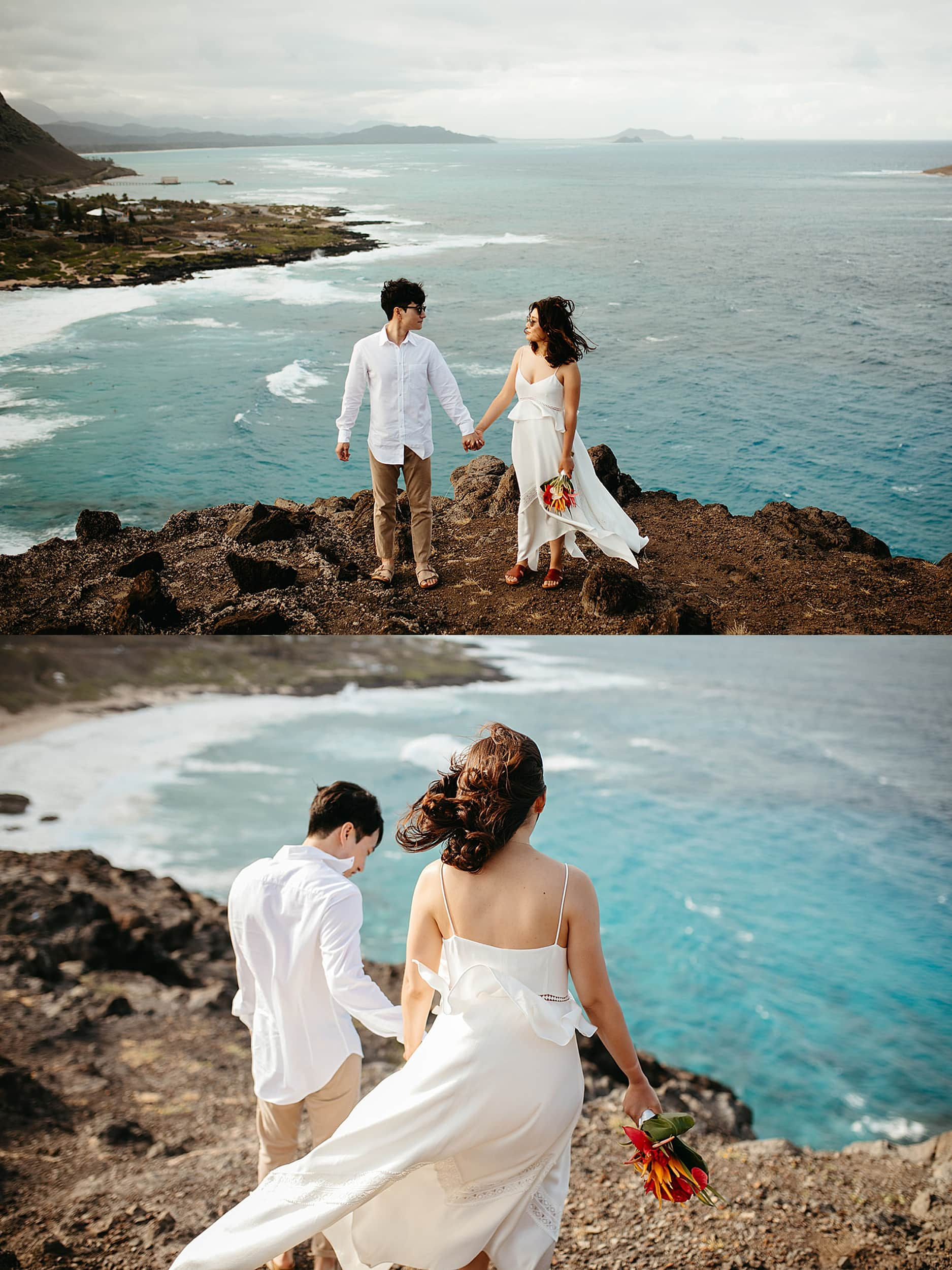 couple on a cliffside in Hawaii