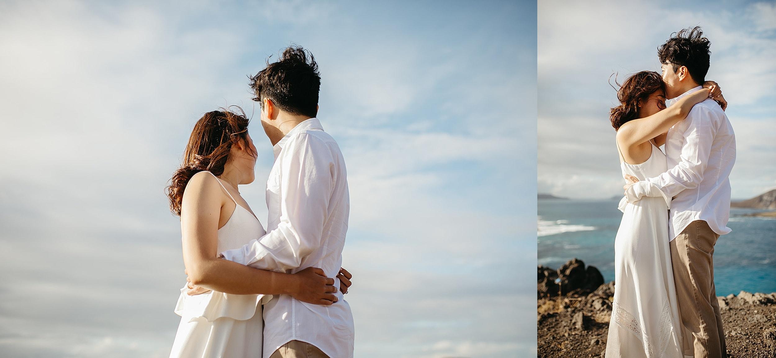 couple embracing at a Hawaii elopement