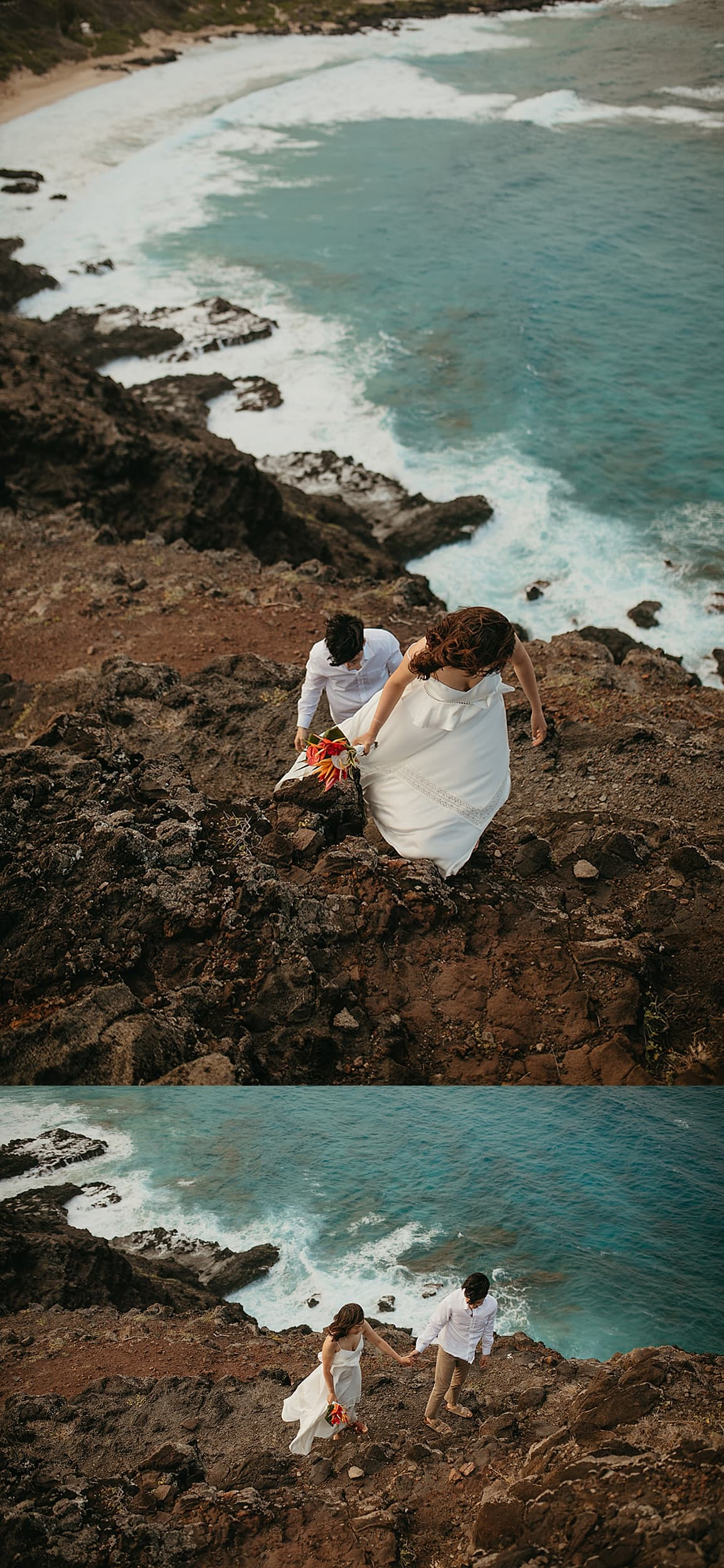 couple walking on a cliff during an Oahu elopement