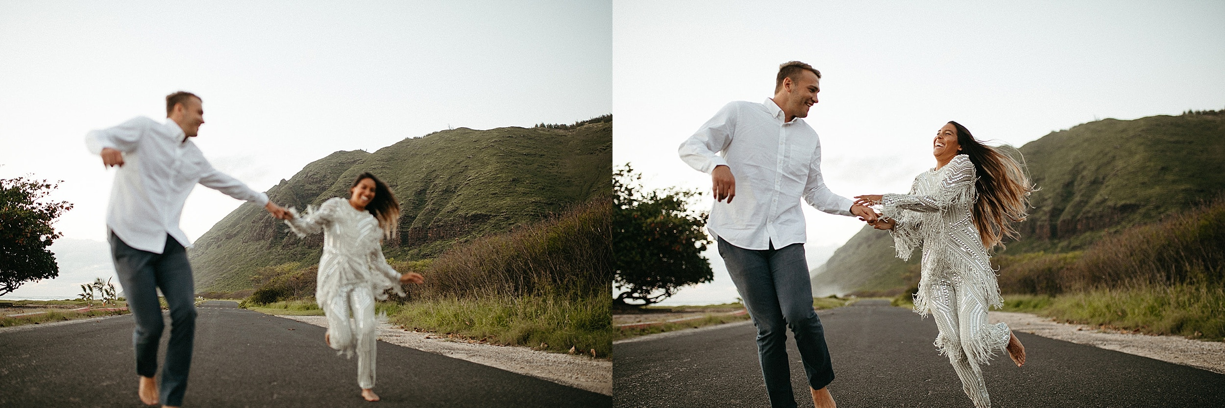 couple running on road in Oahu
