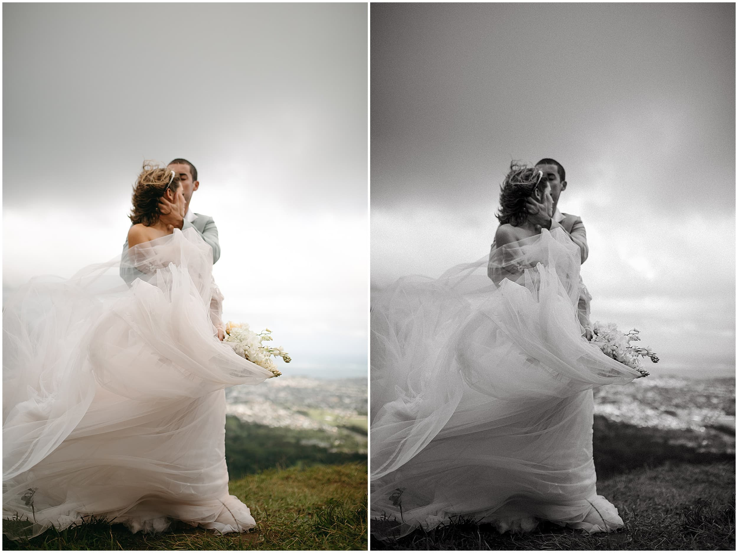 wedding dress moving in the wind