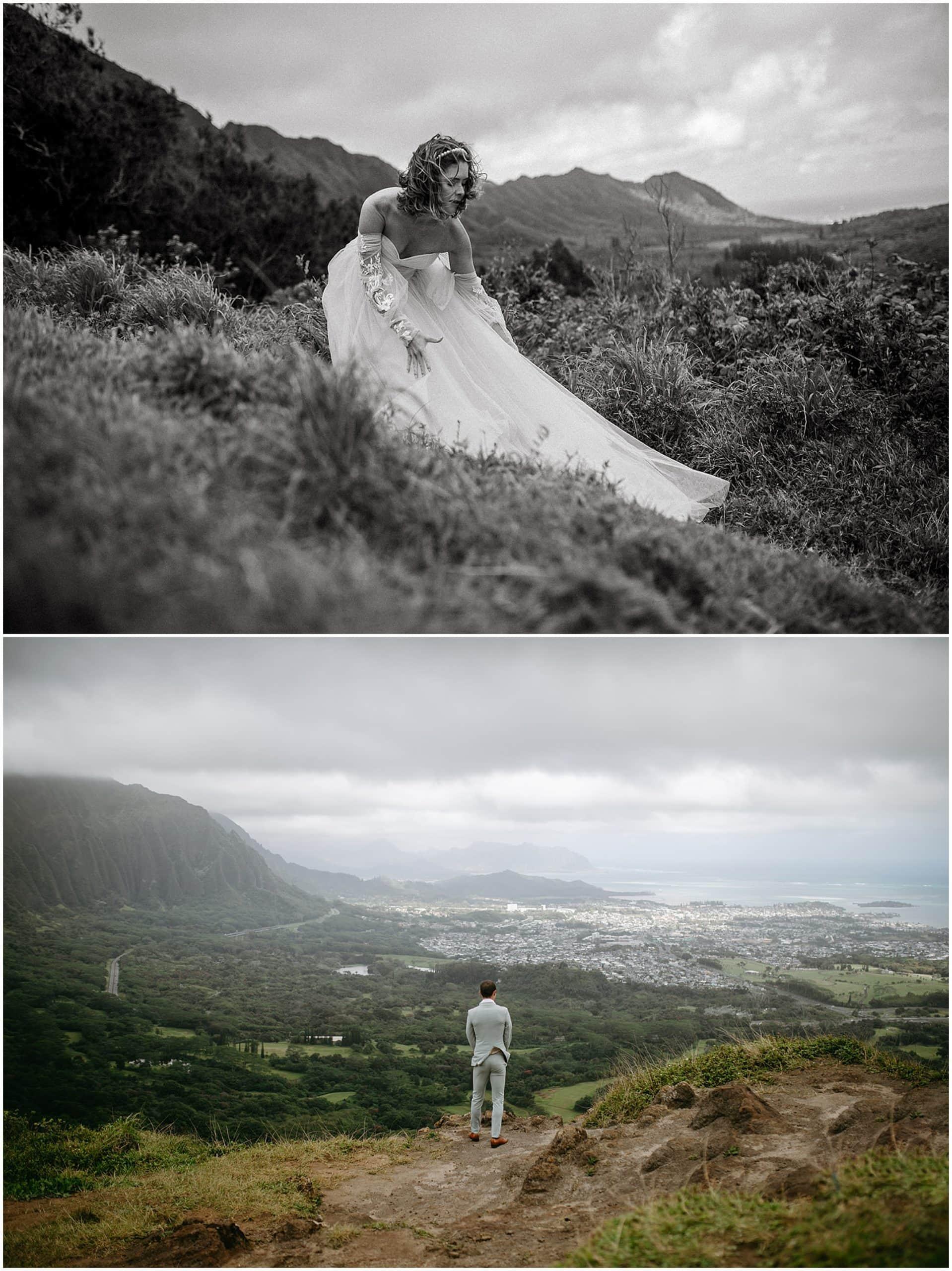 adventurous bride and groom
