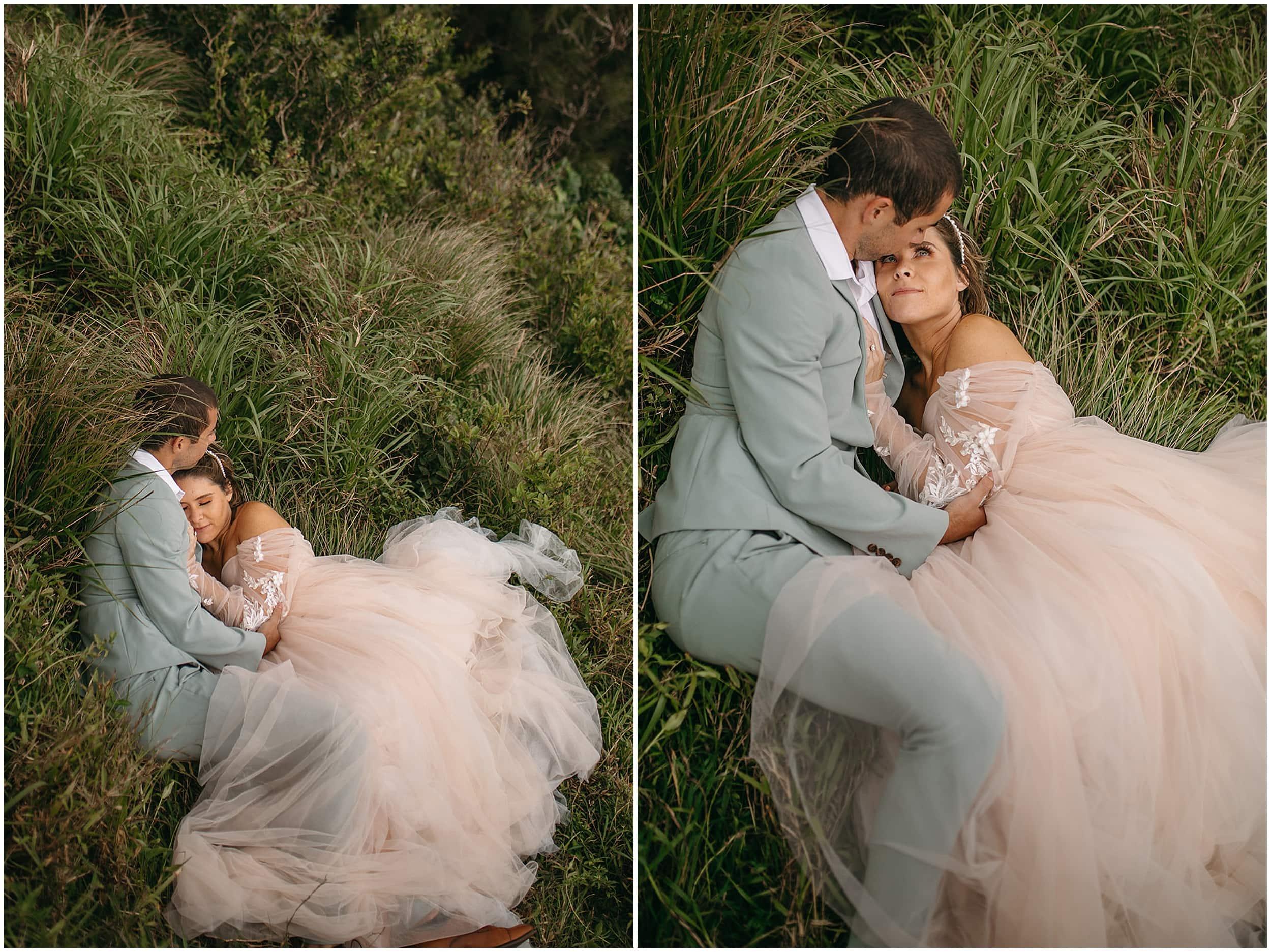 bride and groom snugglingg