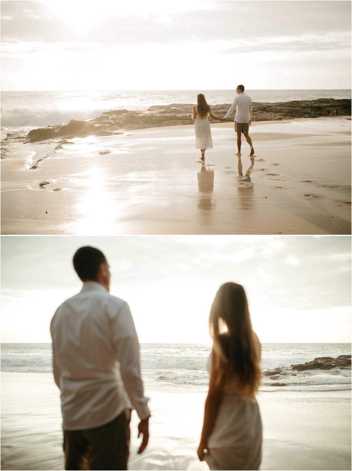 Sunset honeymoon pictures at Makua Beach