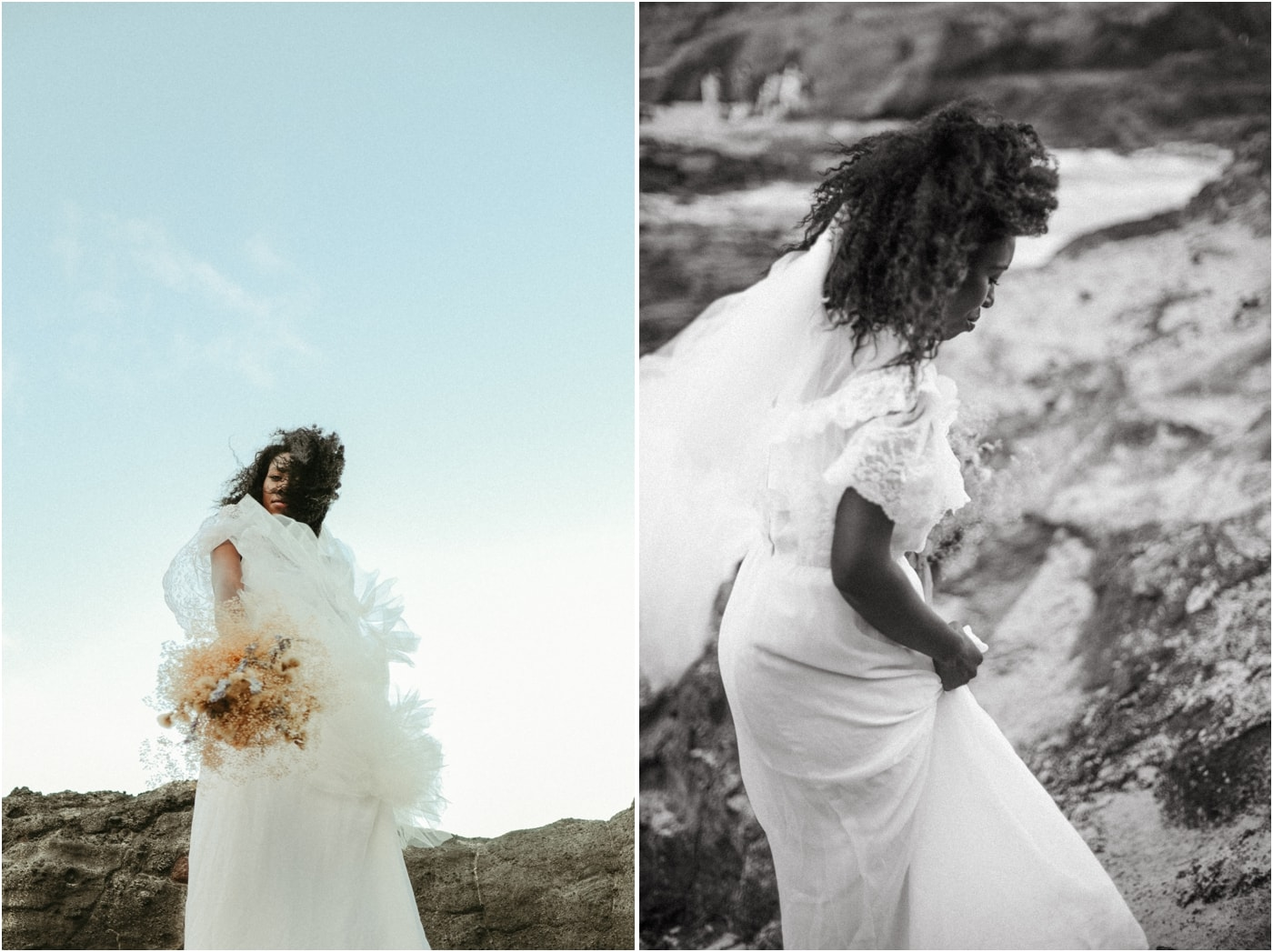 Bride in a vintage lace gown with dried flower bouquet
