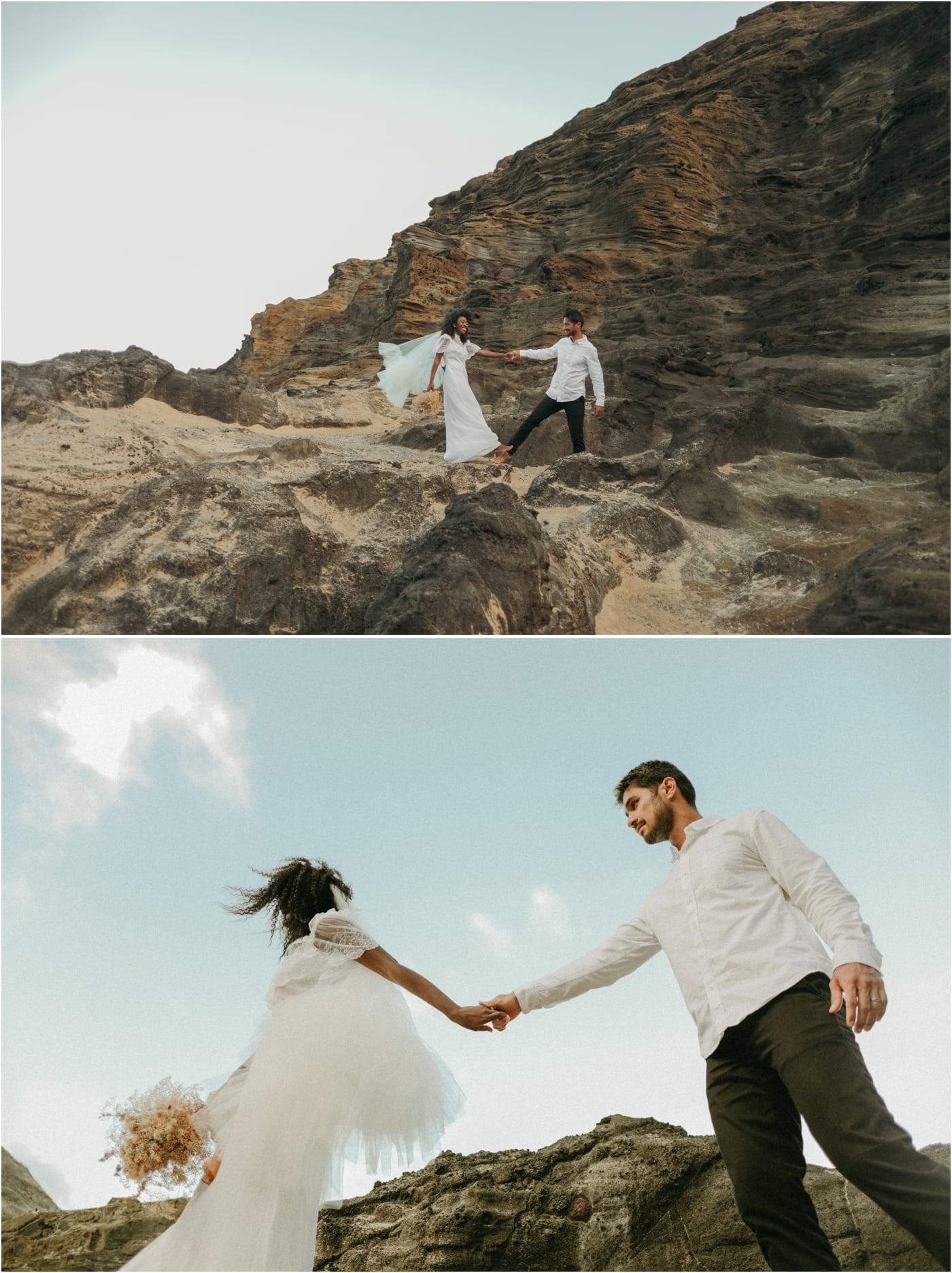 Bride and groom portraits in Oahu